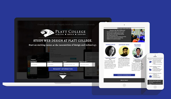 Platt College's Landing Pages on Mobile