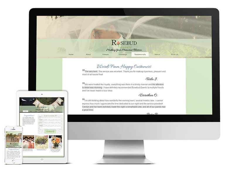 Rosebud Events is responsive across all devices.